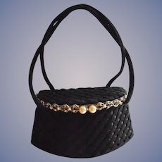 Guild Original Jeweled Black Box Purse with Mirror 1940s Chic Vintage
