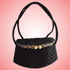 Guild Original Jeweled Black Box Purse with Mirror 1940s Chic Vintage