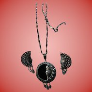 Sterling Silver Crescent Half Moon Face Onyx Marcasite Pendant Necklace & Earrings Set Celestial Jewelry