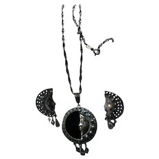 Sterling Silver Crescent Half Moon Face Onyx Marcasite Pendant Necklace and Earrings Set Eclipse