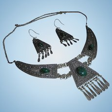 Stunning Sterling Malachite Draping Bib Festoon Necklace and Earrings Set