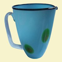 Rare Peacock Eye Murano Blue Cased Glass Large Beverage Pitcher Mid Century Modern MCM Mod Italian