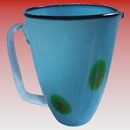 Rare Peacock Eye Murano Blue Cased Glass Large Beverage Pitcher Mid Century Modern MCM Mod Italian