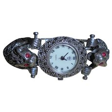 Sterling Double Jaguar Watch Ruby Eyes Silver and Marcasite Figural Bracelet Vintage Wristwatch by Diamond