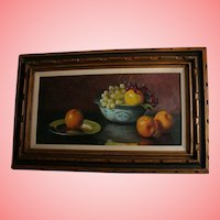 "32"" Original Jean Cordain Fruit Still Life Oil Painting in Carved Wood Frame French Artist"