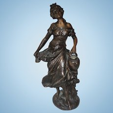 Art Nouveau Carved Resin Bronze Finish Sculpture Beautiful Lady  Carrying Water Pitcher and Roses