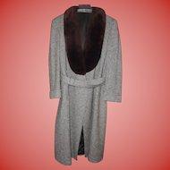 YSL Mens  Paris Vintage Tweed Coat with Brown Fur Collar Size size 42 - 44 Reg
