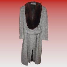 YSL Mens Yves Saint Laurent Paris Vintage Tweed Coat with Brown Fur Collar Size size 42 - 44 Reg