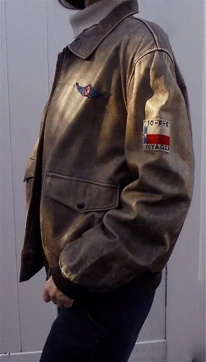 534b9ba76 Rare Womens Aviator Vintage Leather Jacket by The Flight Club Bomber  Pilot's Style with Patches XL