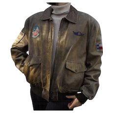 Rare Womens Aviator Vintage Leather Jacket by The Flight Club Bomber Pilot's Style with Patches XL - Red Tag Sale Item