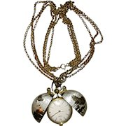 Rare Globe Swiss Pocket Watch by Medana XTensa on Chain Pendant Necklace Vintage Timepiece