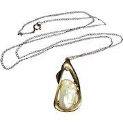 14K Diamond Baroque Cultured Pearl Modernist Pendant Necklace