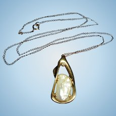 14K Diamond Baroque Cultured Pearl Modernist Pendant Necklace