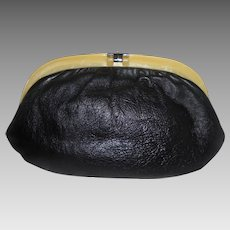 Yellow Lucite Frame & Plush Black Leather Vintage Clutch Purse by Ruth Saltz ~ Gorgeous