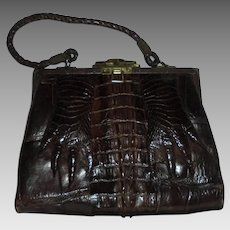 Edwardian Era Hornback Alligator Paws with Nails Espresso Brown Rare Antique Handbag Purse with Mirror c1920s