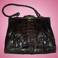 Edwardian Hornback Alligator Paws with Nails Espresso Brown Rare Antique Handbag Purse with Mirror c1920s