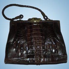 Edwardian Hornback Alligator Paws with Nails Espresso Brown Rare Antique Handbag Purse with Mirror c1920s