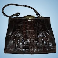 Fab Edwardian Hornback Alligator Paws with Nails Espresso Brown Rare Antique Handbag Purse with Mirror c1920s