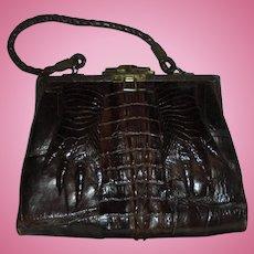 Fab Edwardian Hornback Alligator Paws with Nails Espresso Brown Rare Antique Handbag Purse with Mirror c1920s