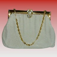 Whiting and Davis Rhinestone Jeweled Clasp White Cream and Gold Mesh Vintage Evening Bag in Beautiful Condition #2983