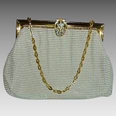 Whiting and Davis Rhinestone Jeweled Clasp White and Gold Mesh Vintage Evening Bag in Beautiful Condition #2983
