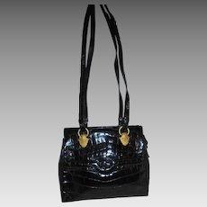 Sondra Roberts Embossed Black Leather Shoulder Bag Gold Tone Hardware Gorgeous Handbag