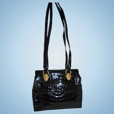 Sondra Roberts Embossed Black Leather Shoulder Bag Gold Tone Hardware Gorgeous Handbag
