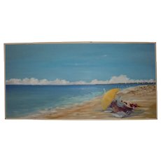 Nantucket Artist Association Exhibited Large Beach Scene Oil Painting by Julie Young