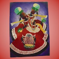 Vibrant Caribbean Carnival Dancers Vintage Oil Painting Signed Illegibly
