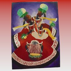 Vibrant Caribbean Carnival Dancers Vintage Oil Painting Signed Illegibly