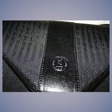 Gorgeous! Vintage Fendi Black Leather Stripe Envelope Clutch with Detachable Shoulder Strap