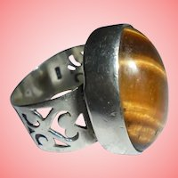 Vintage Sterling Silver Tiger's Eye Ring Size 7.75