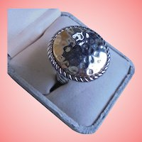 Vintage 925 Sterling Silver Hammered Disc Cocktail Ring size 7