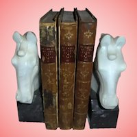 """1st Edition 1870 Victor Hugo Antique Book Set 3 Volumes """"By Order of the King"""" Illustrated Leather & Board"""