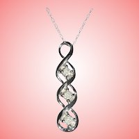10K White Gold Triple Diamond Pendant Necklace TCW .12