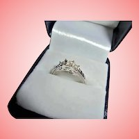 10K Triple Diamond Engagement Ring White Gold TCW .10 Size 7 Past Present Future