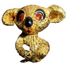 Huge 18K Solid Gold Italy Mid-Century Koala Teddy Bear Brooch Fur Clip