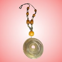 Copal Amber & Metal Antique Pendant Amulet Necklace