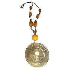 Copal Amber & Metal Antique Pendant Amulet Necklace