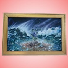 German Expressionist Oil Painting Blue Rose in Storm NYC Gallery 1980s Provenance Listed Duo /Artists Stepanek / Maslin