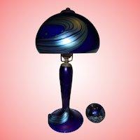 Night Sky Lundberg Studios 1988 Rare Desk Lamp and Paperweight Set Blue Favrille Glass Milky Way Stars