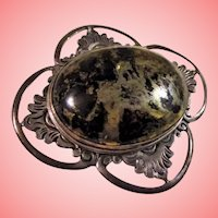 Huge and Chunky! Obsidian and Sterling Silver Brooch Vintage