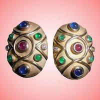 14K Gold Diamond Ruby Emerald Sapphires Omega Clip Earrings Moghul Etruscan