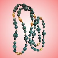 Sodalite Gold-Plated Sautoir Beaded Necklace