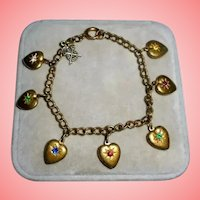 Antique Puffy Heart Gold-Filled Charm Bracelet Crystals Sweetheart Victorian Military