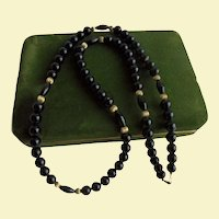 """Long 10K Gold & Onyx Beaded Necklace 27"""" inch long"""