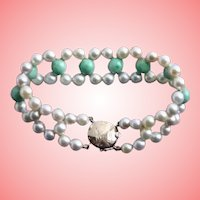 Exquisite 14K Gold Jade & Cultured Pearl Bracelet