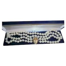 14K Gold Diamond Cultured 8 mm Akoya Pearl Double Strand Hand-Knotted Necklace Gorgeous Mid-Century
