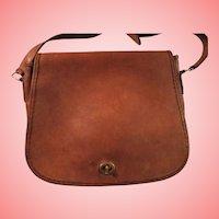 Vintage Coach Stewardess Bag  Made in United States British Tan Leather Shoulder Handbag