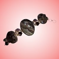 Huge & Massive Sterling Silver ~ Abalone & Amethyst Chunky Linked Bracelet